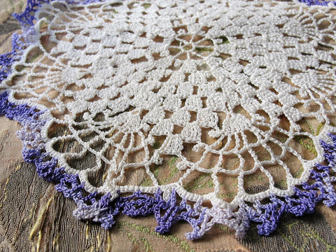 PRETTY Vintage Doily Purple and Creamy White Hand Crocheted Doily Farmhouse Decor, French Country Cottage,Unique Design Collectible Doilies