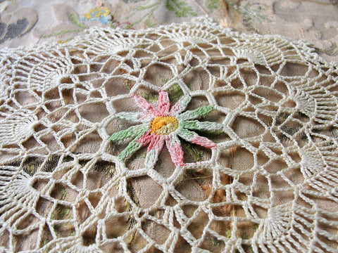 CHARMING Vintage Doily,Beige Pink and Green,Hand Crocheted Doily Farmhouse Decor, French Country Cottage,Unique Design Collectible Doilies