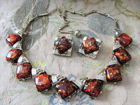 STUNNING 1950s Signed Designer CORO Amber Color Gold Confetti Lucite Thermoset Necklace and Earrings Set,Lovely Moon Glow Confetti, Gold Tone Metal Necklace, Wear or Collect Vintage Costume Jewelry, Collectible Jewelry