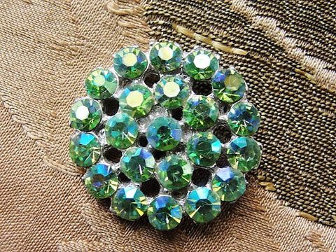 LOVELY Vintage 1950s Sparkling Green Rhinestone Button Collectible or Use In Fine Sewing Project Jewelry Making