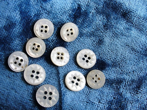 ANTIQUE Victorian Tiny Carved Mother of Pearl Buttons, Set of 12, Perfect For Dolls, Baby Clothes, Fine Heirloom Sewing, Collectible Buttons