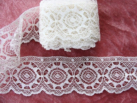 BEAUTIFUL Antique French Lace Cotton Trim Delicate Intricate Spider Web Pattern 65 inches, Dolls,Christening Gowns, Bridal Heirloom Sewing