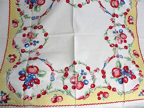 BEAUTIFUL Vintage Printed Tablecloth Colorful Fruits Vegetables Cloth Never Used Collectible Printed Tablecloths Farm House Decor