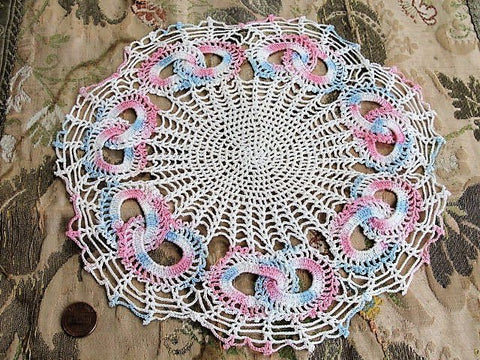 BEAUTIFUL Vintage Doily Pink Blue Love Knots Creamy White Hand Crocheted Doily Farmhouse Decor, Romantic Cottage Decor, Collectible Doilies