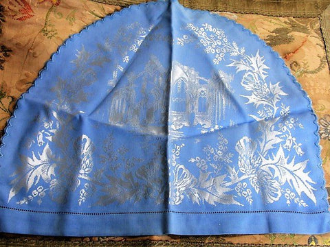 BEAUTIFUL Vintage Tea Cozy Scottish Thistles Design Lovely Blue Damask Linen Tea Cosy Vintage Tea Time Linens Collectable Tea Cosies