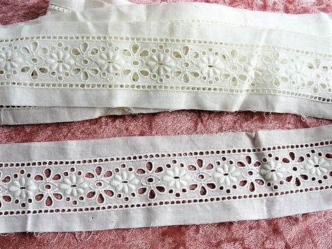LOVELY Antique French White On White Edwardian Embroidered Trim For Dresses,Dolls, Christening Gowns, Bonnets, Bridal Weddings, Lace Trim
