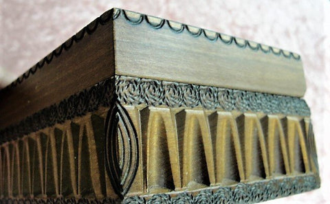 DECORATIVE Antique Carved Wooden Box,Table Box,Jewelry Box,Glove Box,Beautiful Hand Carved Wooden Box, French Country,Farmhouse Decor