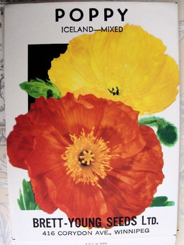 Colorful Vintage FLORAL SEED PACKET Ice Land Poppies Cottage Decor Weddings, Scrapbooking Crafts