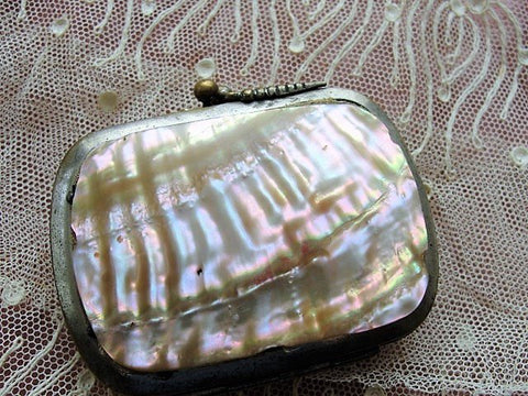 BEAUTIFUL Antique FRENCH Change Purse,Lovely Shell Sides,Dazzling Pearl Purse,Collectible Purses,Doll Size Purse,French Bebe Purse, Display