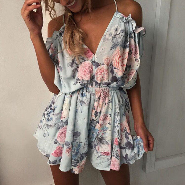 Sexy V-Neck Sling Print Rompers Jumpsuit