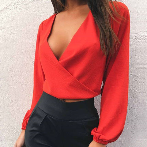 Sexy Deep V-Neck Backless T-Shirt Crop Top