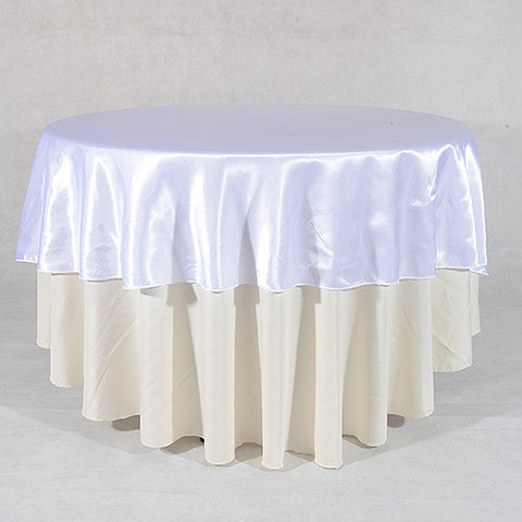 "White  70"" Satin Round Tablecloths  ( 70 Inch )- Ribbons Cheap"