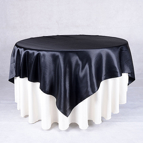 Black  60 x 60 Satin Table Overlays  ( 60 x 60 Inch )- Ribbons Cheap
