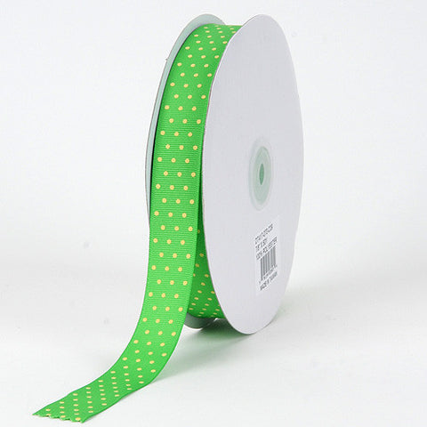Grosgrain Ribbon Swiss Dot Apple with Canary Dots ( W: 3/8 inch | L: 50 Yards ) -