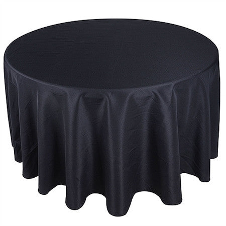 Black 120 Inch Premium Polyester Round Tablecloths- Ribbons Cheap