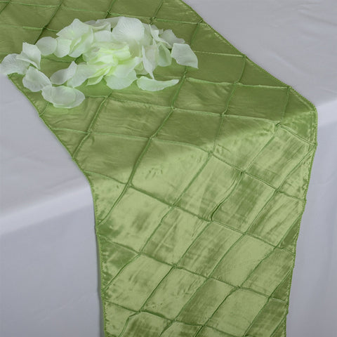 Apple Green  12 inch x 108 inch Pintuck Satin Table Runner- Ribbons Cheap