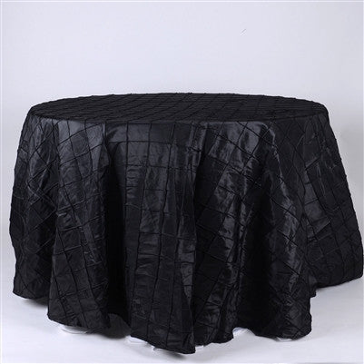 Black  132 inch Round Pintuck Satin Tablecloth- Ribbons Cheap
