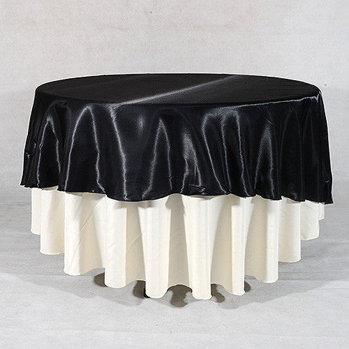 Black  90 Inch Satin Round Tablecloths- Ribbons Cheap