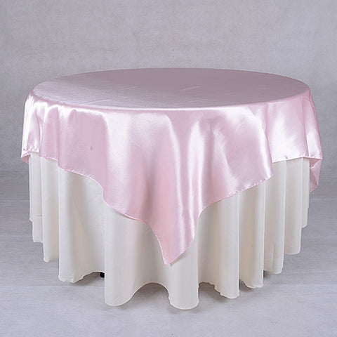 90 X 90 Satin Table Overlays - Light Pink