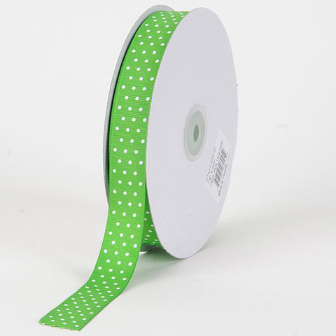 Grosgrain Ribbon Swiss Dot Apple Green with White Dots ( W: 3/8 inch | L: 50 Yards ) -