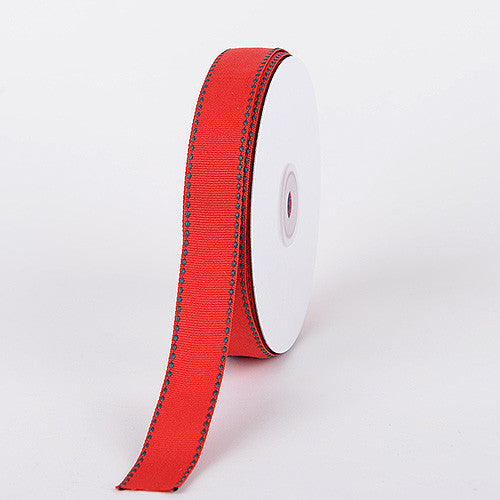 Grosgrain Ribbon Stitch Design Red with Hunter Stitch ( W: 3/8 inch | L: 25 Yards ) -