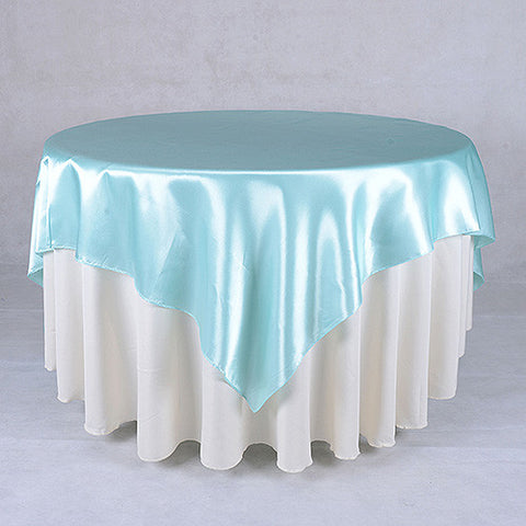Aqua  60 x 60 Satin Table Overlays  ( 60 x 60 Inch )- Ribbons Cheap