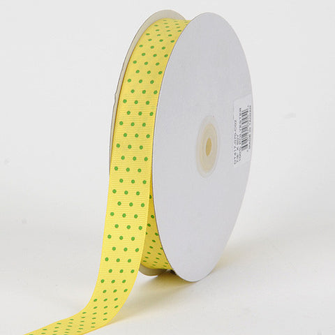 Grosgrain Ribbon Swiss Dot Canary with Apple Dots ( W: 3/8 inch | L: 50 Yards ) -