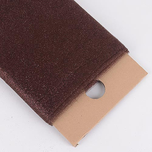 Brown Premium Glitter Tulle Fabric ( W: 6 inch | L: 25 Yards ) -
