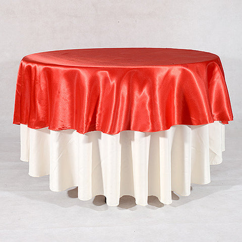 "Red  70"" Satin Round Tablecloths  ( 70 Inch )- Ribbons Cheap"