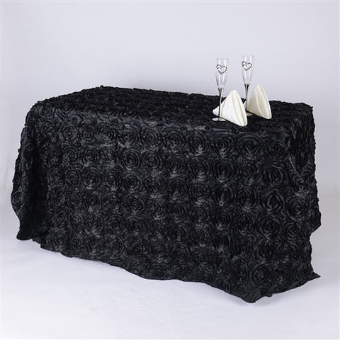 Black 90 Inch x 132 Inch Rosette Tablecloths- Ribbons Cheap