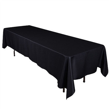 Black 90 x 132 Inch Premium Polyester Rectangle Tablecloths- Ribbons Cheap