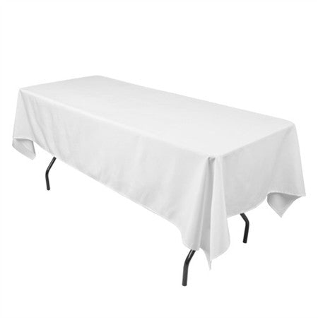 White 90 x 156 Inch Premium Polyester Rectangle Tablecloths- Ribbons Cheap