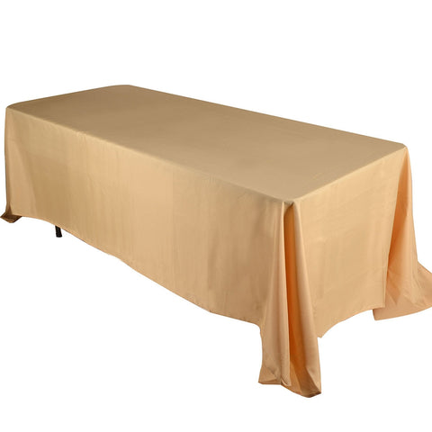 Gold  90 x 156 Rectangle Tablecloths  ( 90 inch x 156 inch )- Ribbons Cheap