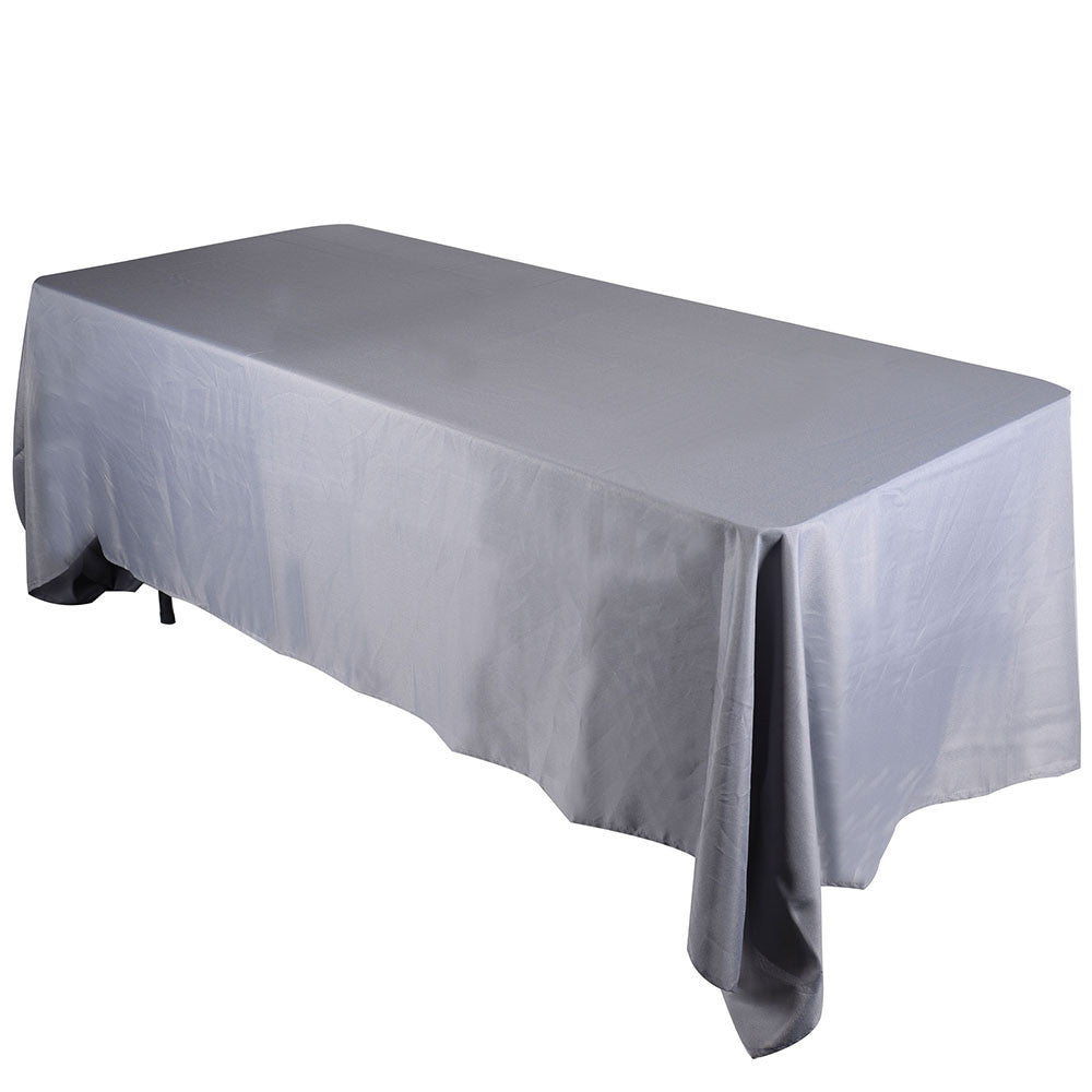 Silver  90 x 156 Rectangle Tablecloths  ( 90 inch x 156 inch )- Ribbons Cheap