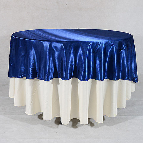 "Navy  70"" Satin Round Tablecloths  ( 70 Inch )- Ribbons Cheap"