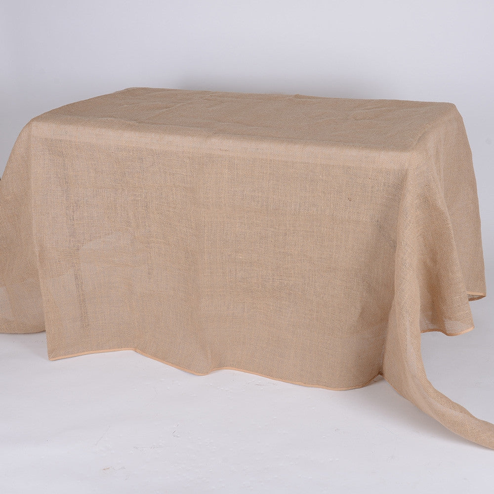 60x126 Inch Fine Rustic Jute Burlap Rectangle Tablecloths- Ribbons Cheap