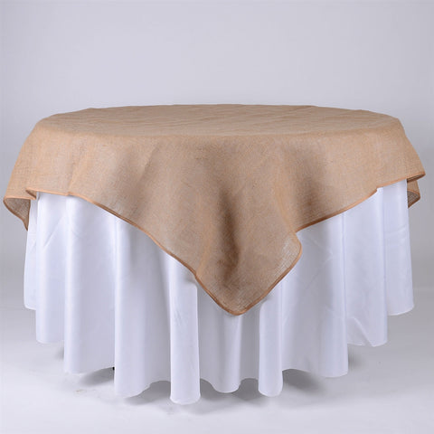 72x72 Inch Fine Rustic Jute Burlap Square Tablecloths- Ribbons Cheap