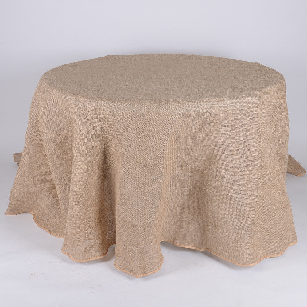 90 Inch Fine Rustic Jute Burlap Round Tablecloths- Ribbons Cheap