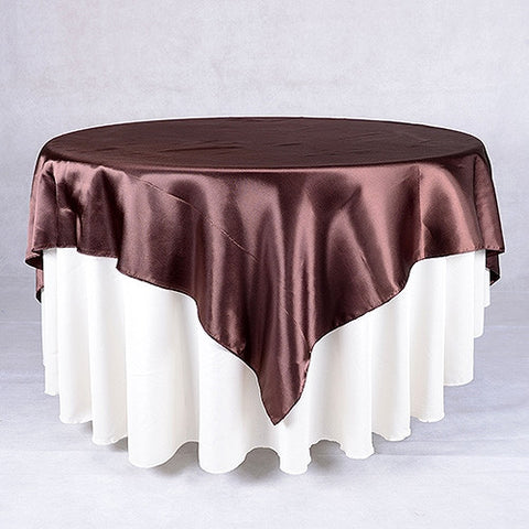 Brown  90 x 90 Satin Table Overlays  ( 90 Inch x 90 Inch )- Ribbons Cheap