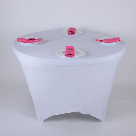 White 8 Seat Round Spandex Tablecloths- Ribbons Cheap