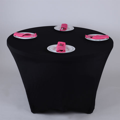 Black 8 Seat Round Spandex Tablecloths- Ribbons Cheap