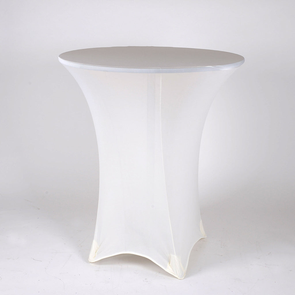 Ivory Spandex Cocktail Tablecloths- Ribbons Cheap