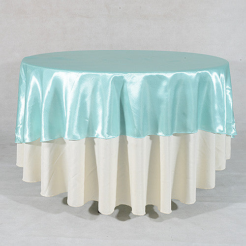 "Aqua  70"" Satin Round Tablecloths  ( 70 Inch )- Ribbons Cheap"