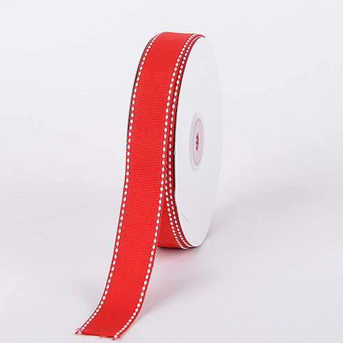 Grosgrain Ribbon Stitch Design Red ( W: 3/8 inch | L: 25 Yards ) -