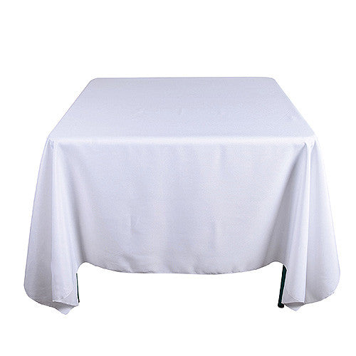 White  85 x 85 Square Tablecloths  ( 85 Inch x 85 Inch )- Ribbons Cheap