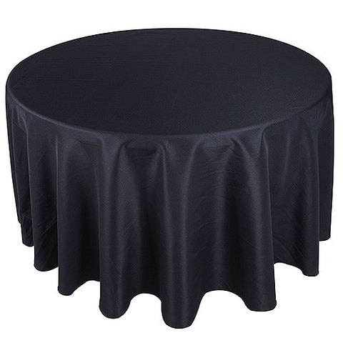 Black  108 Inch Round Tablecloths  ( 108 inch | Round )- Ribbons Cheap