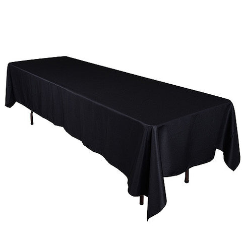 Black  60 x 126 Rectangle Tablecloths  ( 60 inch x 126 inch )- Ribbons Cheap
