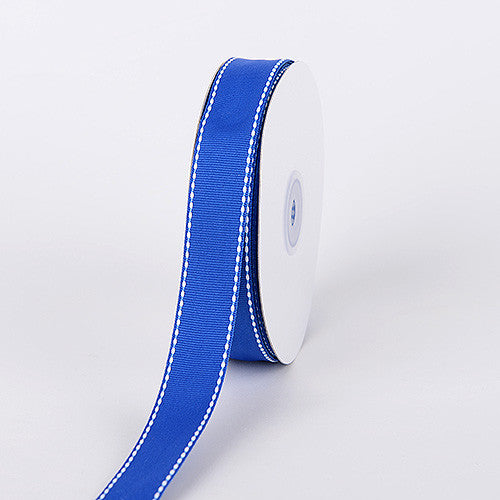 Grosgrain Ribbon Stitch Design Royal Blue ( W: 3/8 inch | L: 25 Yards ) -