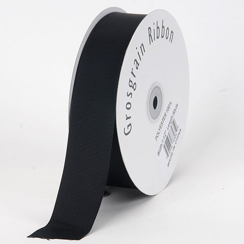 Grosgrain Ribbon Solid Color Black ( W: 7/8 inch | L: 50 Yards ) -