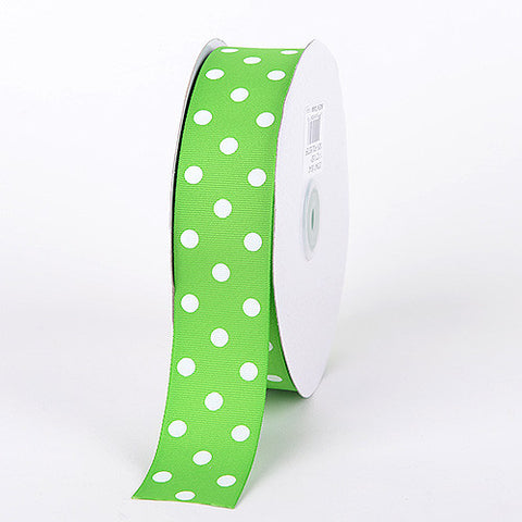 Grosgrain Ribbon Polka Dot Apple Green with White Dots ( 7/8 inch | 50 Yards ) -